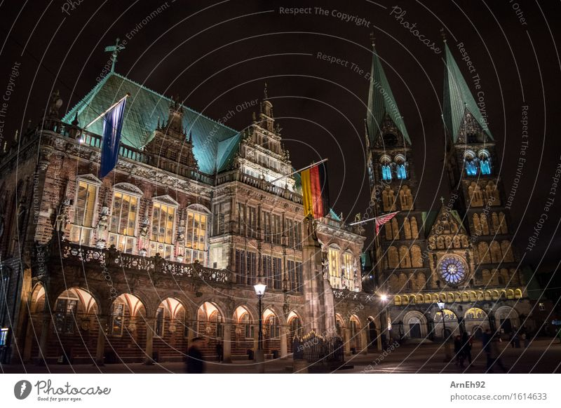 Bremen Town Hall + Cathedral Germany Europe Downtown Populated House (Residential Structure) Dome City hall Manmade structures Architecture Tourist Attraction