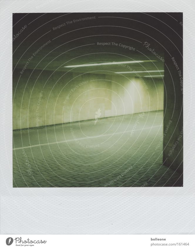 Green City Dark Fear Polaroid Dangerous Threat Force Derelict Tunnel Panic Neon light Passage Claustrophobia Underpass