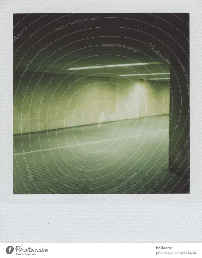 Green City Dark Fear Polaroid Dangerous Threat Force Derelict Tunnel Panic Neon light Passage Claustrophobia Underpass