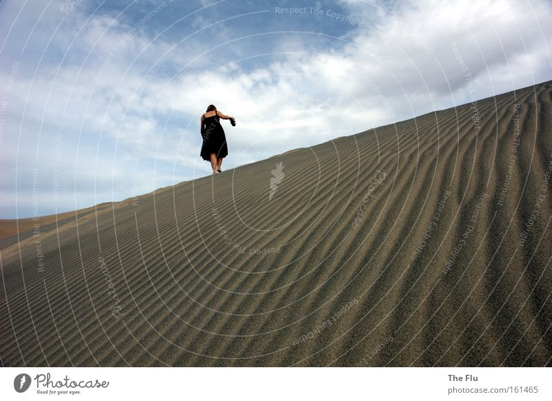 Woman Sky Blue Black Loneliness Warmth Sand Brown Adults Hiking Going USA Desert Longing Wanderlust Barefoot