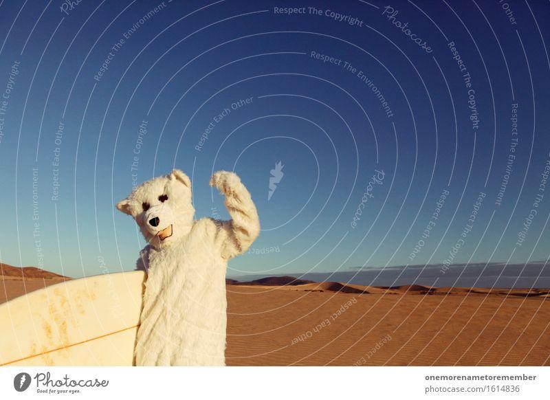 YES! Art Work of art Esthetic Polar Bear White Costume Surfboard Surf school Surfing Surfer Absurdity Joy Comical Funster The fun-loving society Sand Desert