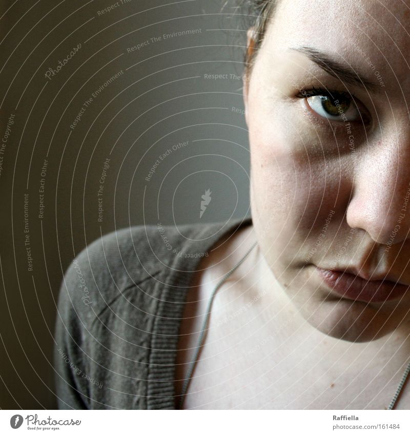 downsides Light Shadow Portrait photograph Looking Face Calm Woman Adults Eyes Grief Distress