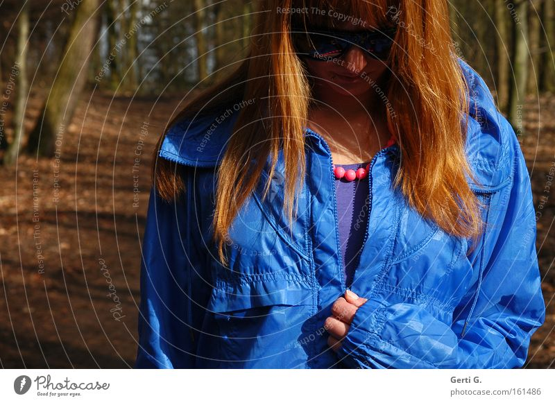 Let the sun in Woman Jacket Blue Long-haired Red-haired Undo Close Zipper Glittering Pattern Patch of colour Forest Footpath Tree Grief Distress Clothing