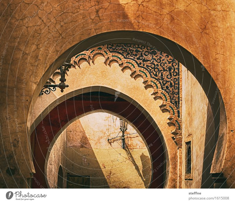 1001 nights Marrakesh Esthetic Medersa Morocco Near and Middle East Islam Arabia Ornamental arch HDR Fairy tale Ochre Dream Graceful Colour photo Exterior shot