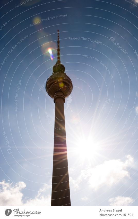 Sun is smiling... Light Silhouette Back-light Clouds Capital city Tourist Attraction Landmark Monument Illuminate Bright Berlin Berlin TV Tower Television tower