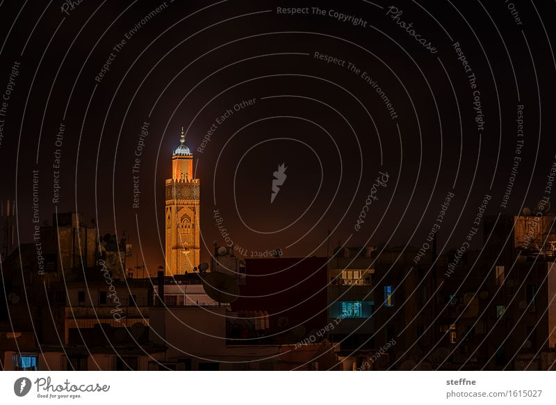 Urban lighthouse (I) Casablanca Morocco Religion and faith Mosque Mosque Hassan II Islam Near and Middle East Minaret Old town Light Lighthouse Long exposure