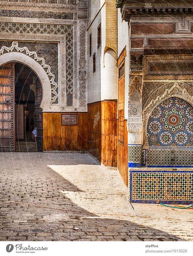 ornament Fez Tourist Attraction Landmark Esthetic Morocco Near and Middle East Arabia Ornament Well Mosque Old town Tourism Islam Colour photo Multicoloured