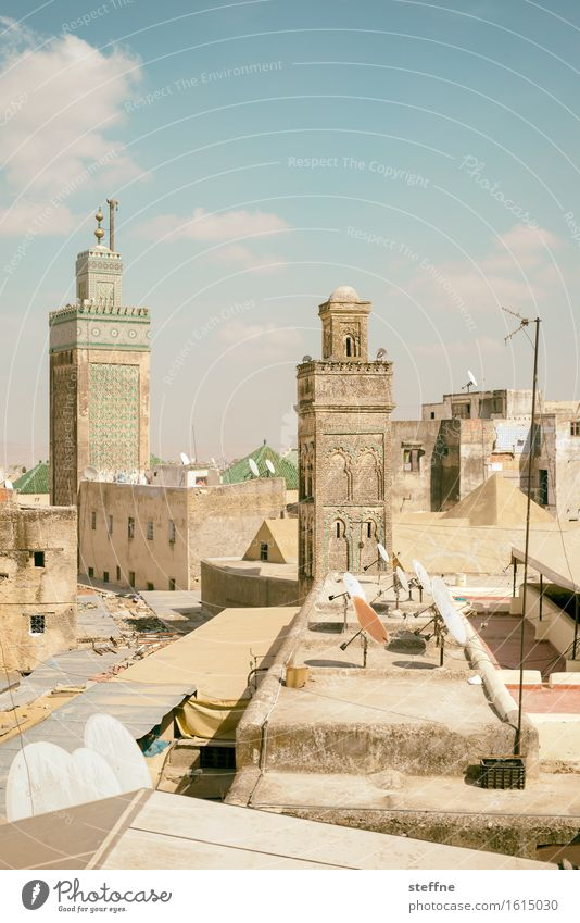 roof landscape Skyline Dry Morocco Near and Middle East Arabia Minaret Satellite dish Roof Beautiful weather Vacation & Travel Fez Colour photo Multicoloured