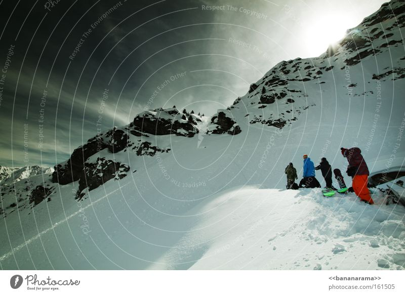 big boys on the set Winter Snow Snowboarder Mountain Clouds Nature Group Relaxation Panorama (View) Alps Freestyle Cold Funsport hiking powder Large