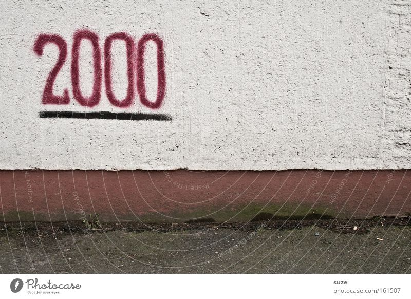 We did it! Feasts & Celebrations Wall (barrier) Wall (building) Sign Digits and numbers Graffiti Old Dirty Gloomy Dry End Target 2,000 Plaster Jubilee Century