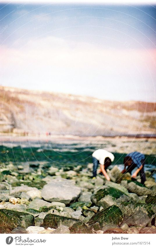 Human being Summer Joy Beach Landscape Coast Stone 2 Together Rock Search Observe Curiosity Touch Shirt Discover