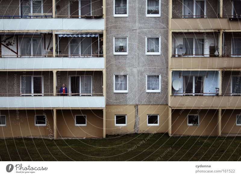 Man House (Residential Structure) Life Emotions Perspective Hope Future Living or residing Longing Balcony Past GDR East Tenant Prefab construction