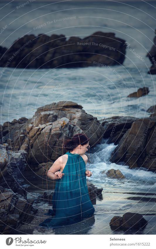 Human being Woman Nature Summer Water Ocean Beach Adults Environment Feminine Coast Waves Dangerous Wet Dress Fluid