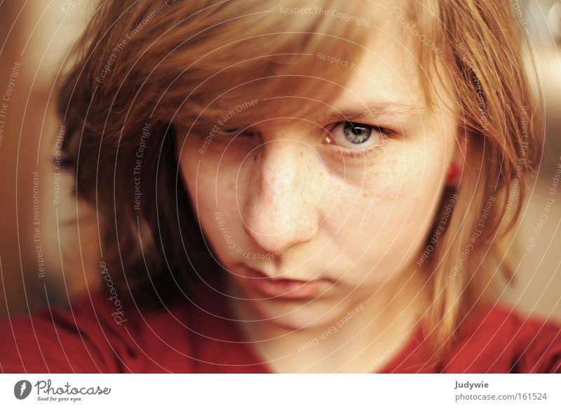 Woman Human being Child Youth (Young adults) Beautiful Blue Red Face Eyes Sadness Power Blonde Adults Grief Near Authentic