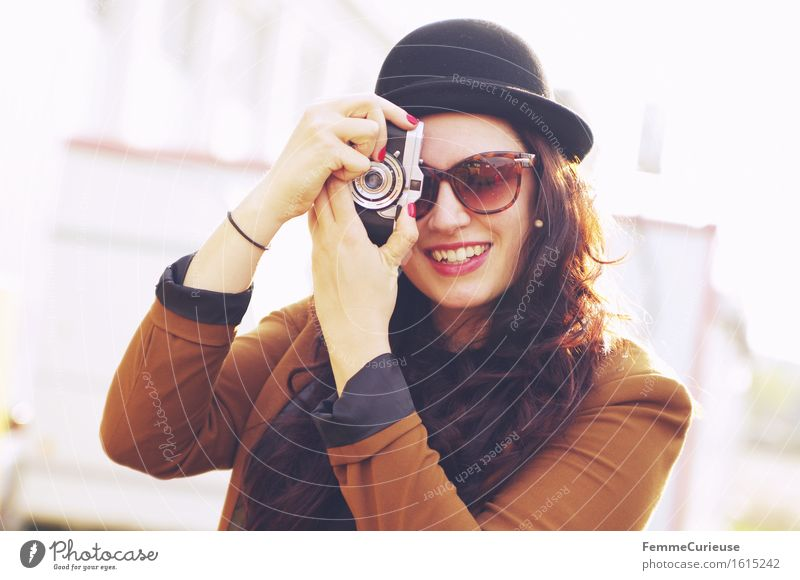 Smile, please! :-) Lifestyle Elegant Style Beautiful Feminine 1 Human being 18 - 30 years Youth (Young adults) Adults Town Hipster Photography Photographer