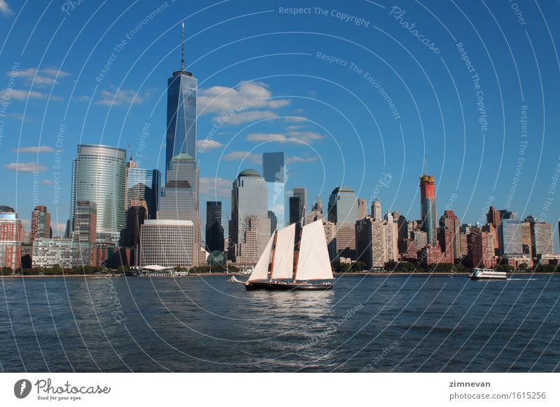 Lower Manhattan cityscape with sailing ship Vacation & Travel City Landscape Architecture Building Freedom Earth Modern High-rise New USA Skyline