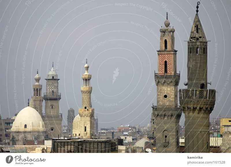 tower construction Islam Mosque Cairo Egypt Silhouette Smog Prayer Landscape House of worship pray muezzin Tower