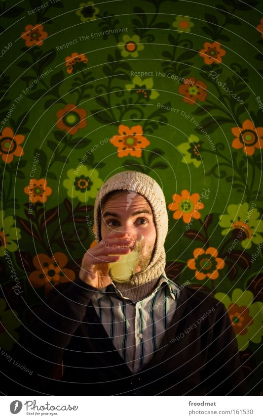 absinthe Alcoholic drinks Drinking Cap Flower Intoxicant Intoxication Alcohol-fueled Wallpaper Portrait photograph To enjoy Joy Retro