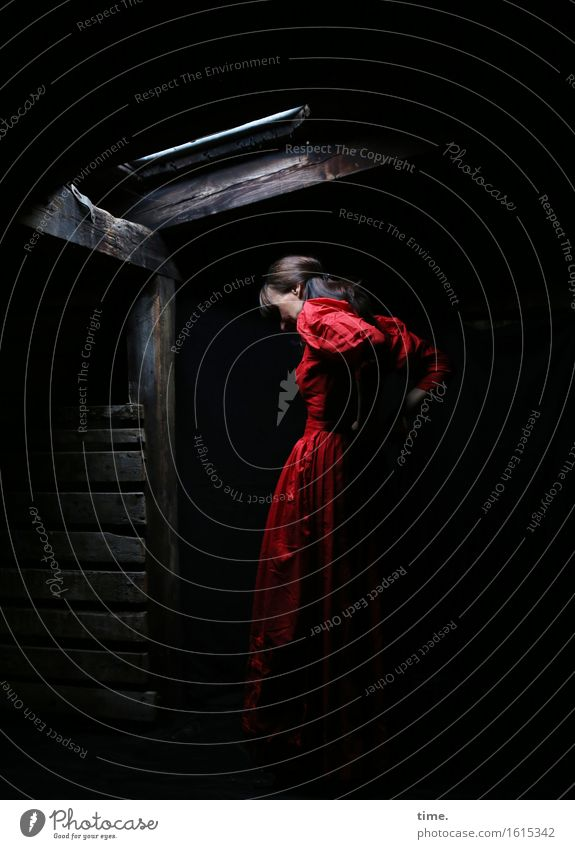 in the attic (III) Attic Hatch Hut Feminine 1 Human being Dress Black-haired Long-haired Stand Exceptional Beautiful Red Determination Romance Watchfulness