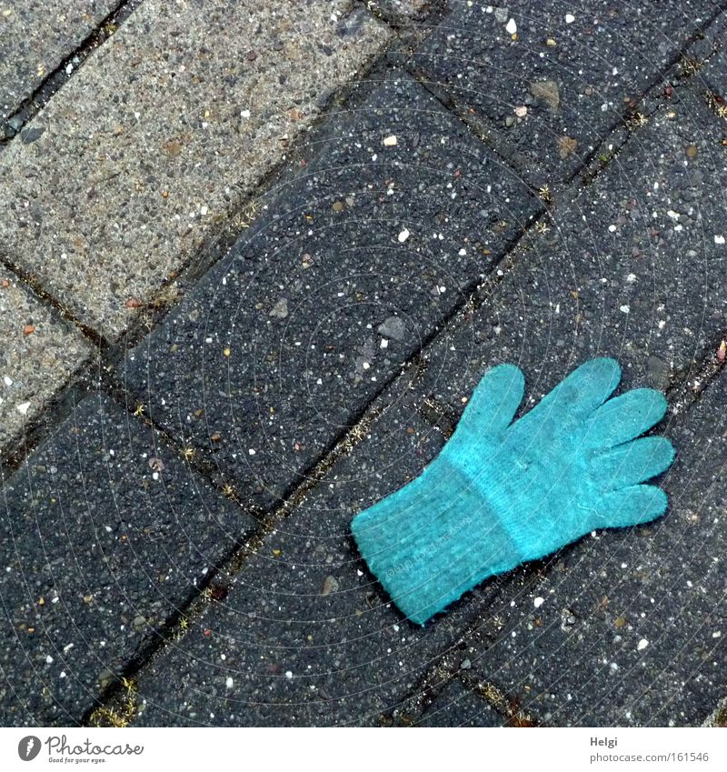 lost... Gloves Lose Doomed Sidewalk Footpath Stone Cold Winter Freeze Fingers Wool Heat Protection Blue Gray Clothing Anger Aggravation Helgi Paving stone