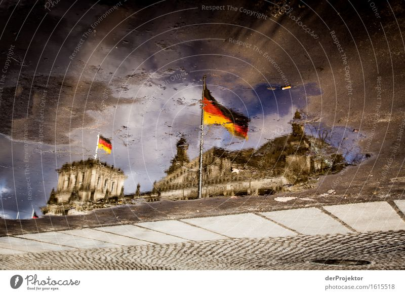 Colourful puddle world with Reichstag Vacation & Travel Tourism Trip Freedom Sightseeing City trip Downtown Detached house Palace Tourist Attraction Landmark