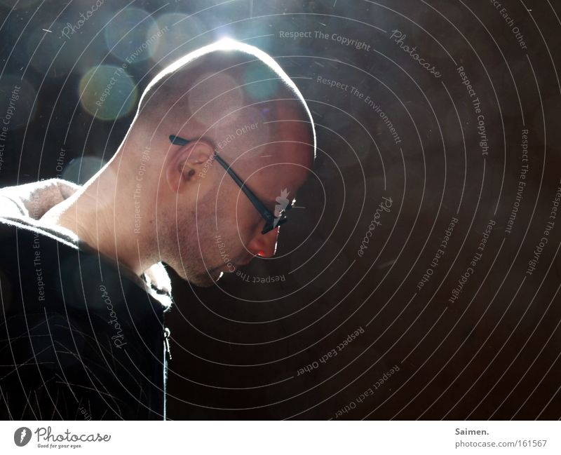 enlightenment Man Light Point of light Eyeglasses Beam of light Reflection Awareness Dust Masculine Think Meditative Positive Beautiful Hope Thought Concentrate