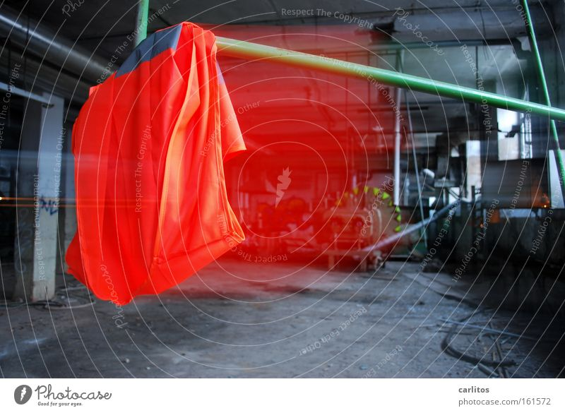 Red Work and employment Industry Factory Anger Derelict Cloth Workshop Aggravation Warning label Rag Workplace Insurance Protection Strike Provocative