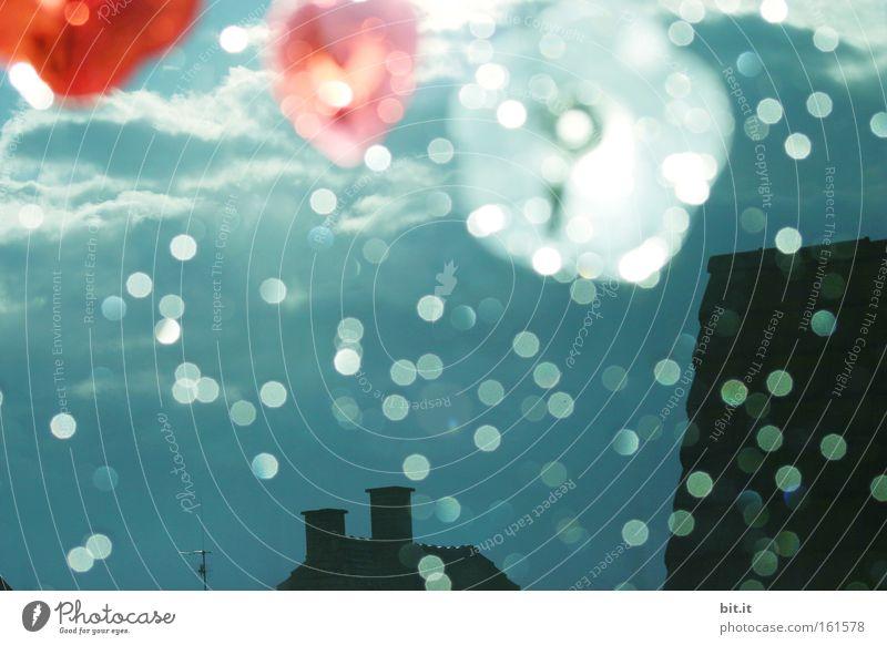 Sky Sun Flower House (Residential Structure) Dark Window Dream Moody Rain Glittering Heart Flying Roof Kitsch Fantastic Storm