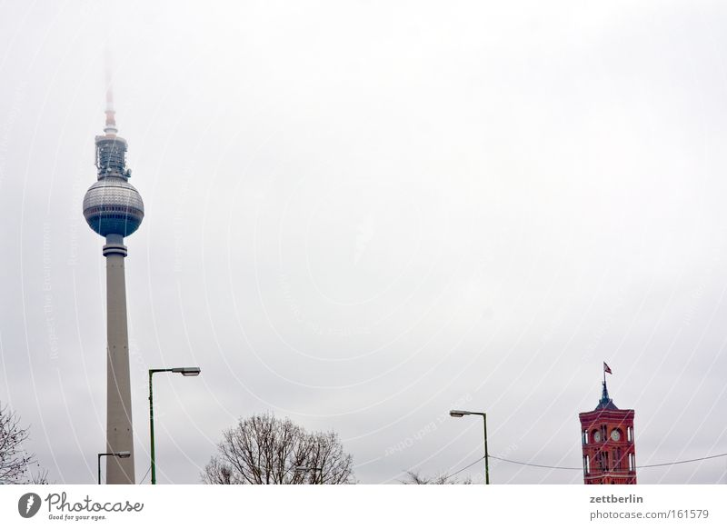 Autumn Berlin Rain Horizon Fog Tower Monument Landmark Capital city Berlin TV Tower Alexanderplatz Government Rotes Rathaus Democracy Senate