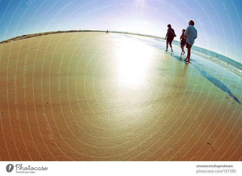 Human being Sky Sun Ocean Joy Beach Vacation & Travel Warmth Sand Coast Fisheye Leisure and hobbies North Sea
