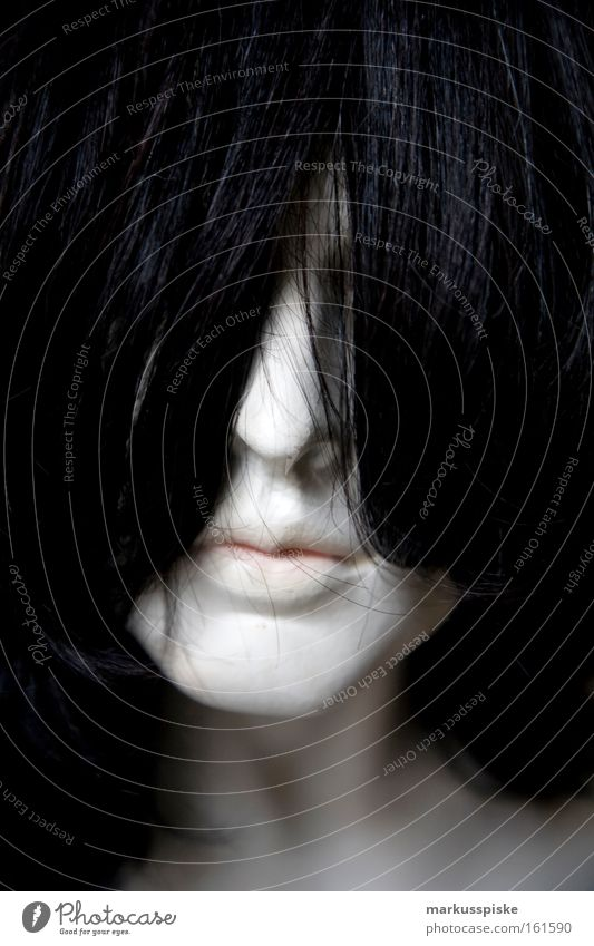 Woman White Face Black Dark Hair and hairstyles Mouth Fear Dangerous Might Club Make-up Placed Concealed Robot Albino