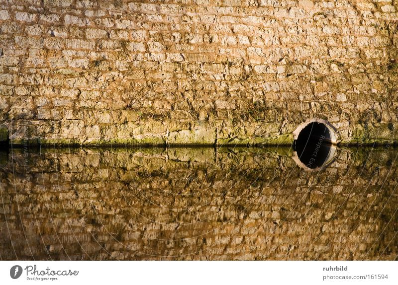 mirroring Wall (barrier) Mirror Reflection Water Symmetry Water level Water reflection Surface of water Moated castle Mirror image Brown Gray Dark Effluent