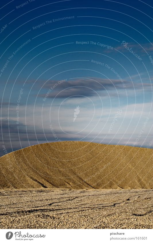 Dune / gravel pit Earth Sand Sky Hill Desert Stone Blue Yellow Beach dune Gravel Badlands Gravel pit Minerals pischarean Colour photo