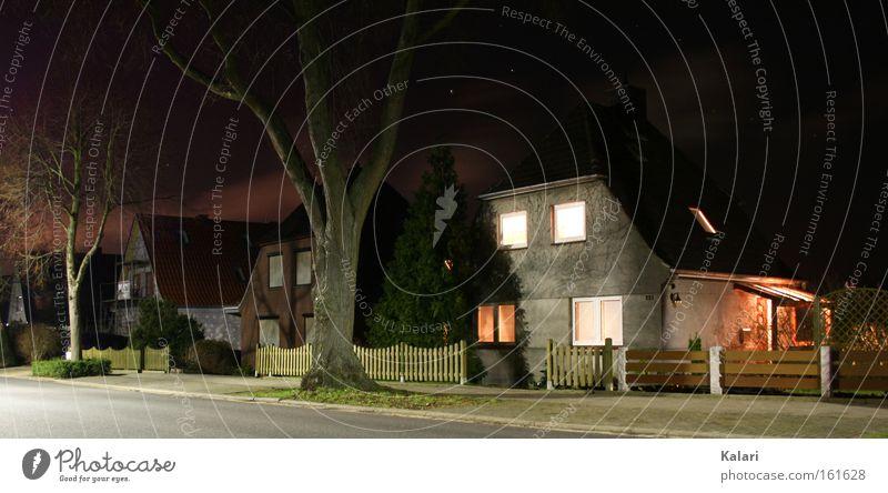 Tree Winter House (Residential Structure) Clouds Loneliness Street Dark Stars Night Bleak Eerie