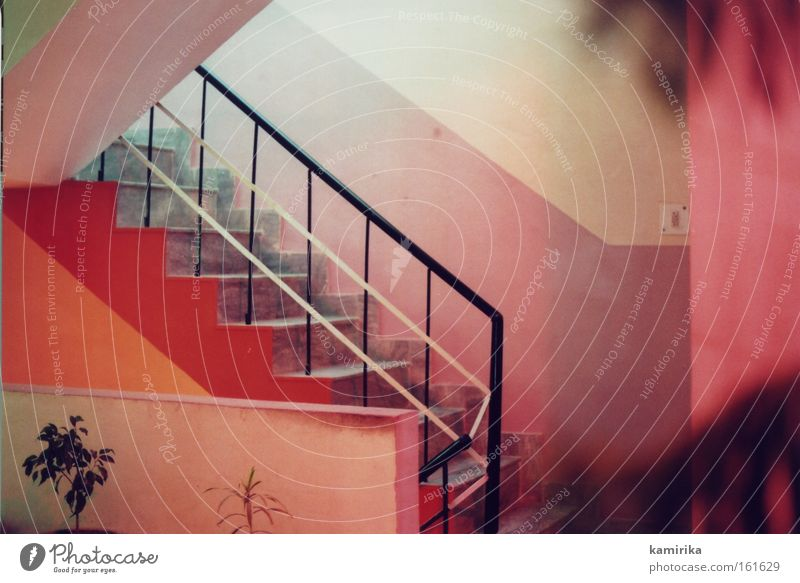 Red Vacation & Travel Warmth Moody Stairs Hotel India Ladder Hallway Handrail Brothel