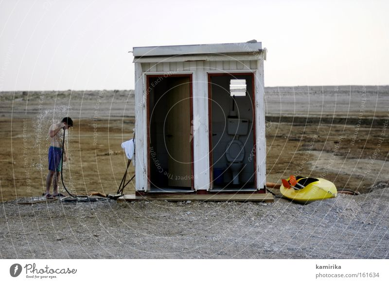 oasis Desert Ocean Drought Water Kayak Salty Israel Stony Shower (Installation) Toilet Take a shower Beach shower West Bank