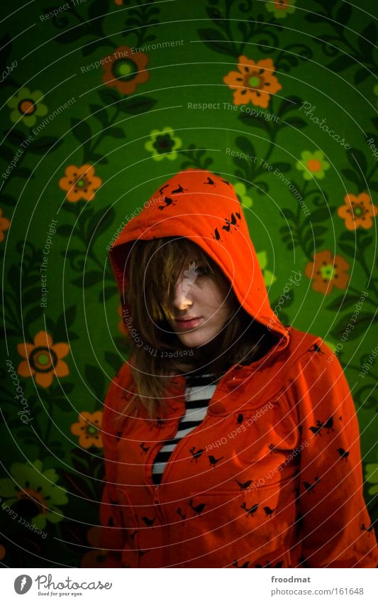 Woman Beautiful Flower Green Red Colour Bird Retro Wallpaper Boredom Hooded (clothing) Portrait format
