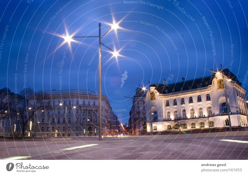 french embassy vienna Traffic infrastructure French longtime exposure Lamp Reflection HDR traffic Blue Sky