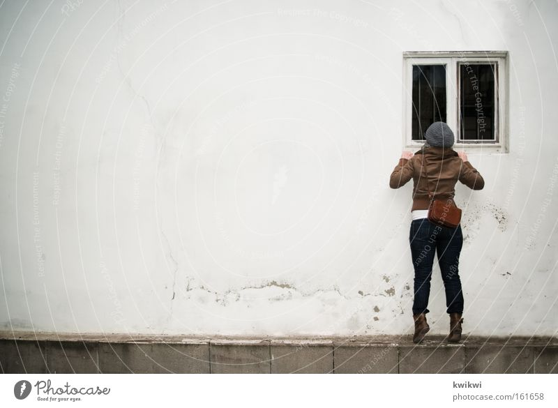 Window. Looking Spy Discover Perspective Window pane Slice Rain Cold Cap Voyeurism Informer Wall (building) Woman