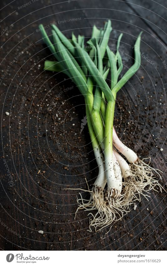 Fresh green garlic on dark wooden table Vegetable Herbs and spices Eating Vegetarian diet Nature Leaf Green Garlic spring Organic Leek Raw Odor Ingredients