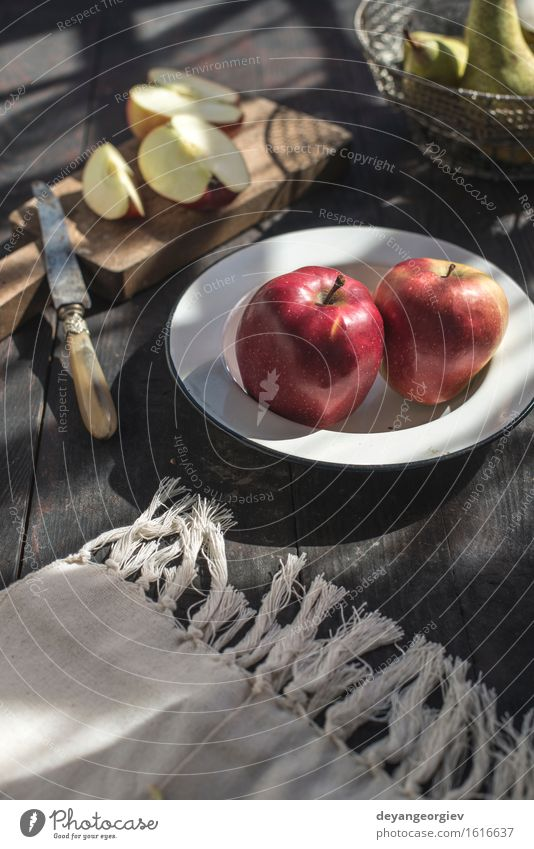 Sliced apples on a plate Nature Green Flower Red Blossom Eating Wood Garden Fruit Fresh Nutrition Table Apple Plate Diet Juicy