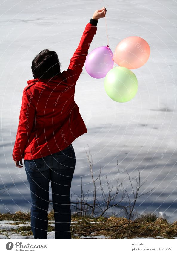 Woman Nature Water Red Joy Calm Loneliness Far-off places Lake Coast Driving Balloon Bursting