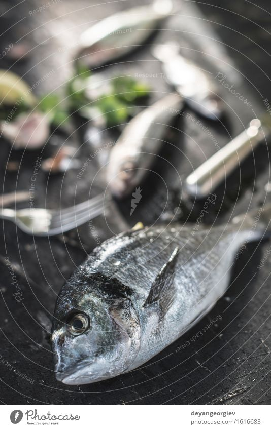 Raw Sea bream fish on dark Seafood Lunch Dinner Diet Ocean Gastronomy Wood Dark Fresh Delicious Black White gilthead Tasty Meal Ingredients Gourmet Preparation