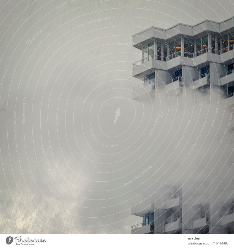 April weather Sky Clouds Spring Weather Bad weather Fog Town Deserted High-rise Architecture Wall (barrier) Wall (building) Balcony Window Landmark Blue Gray