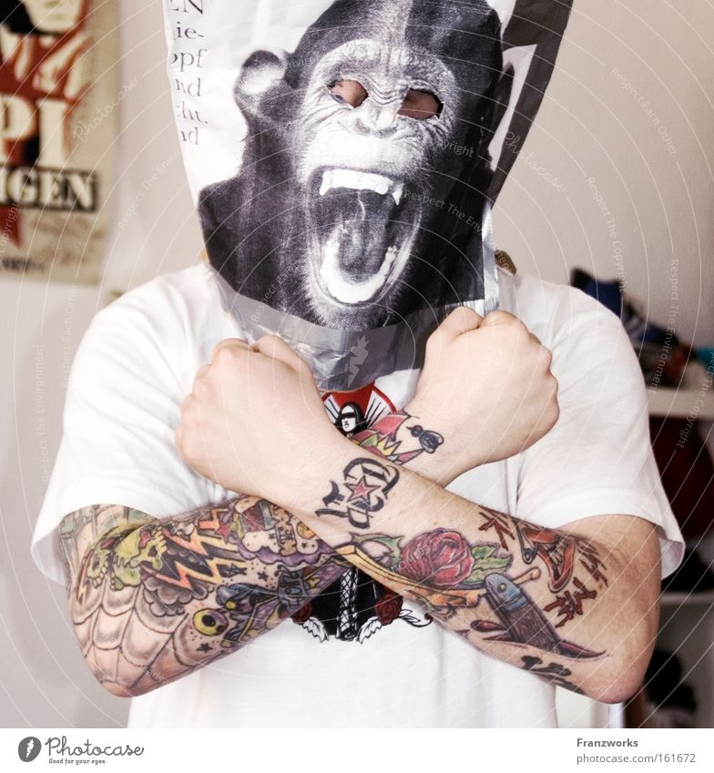 Man Joy Power Funny Adults Music Mask Carnival Anger Tattoo Monkeys Generation Carnival costume Joke Costume Punk rock