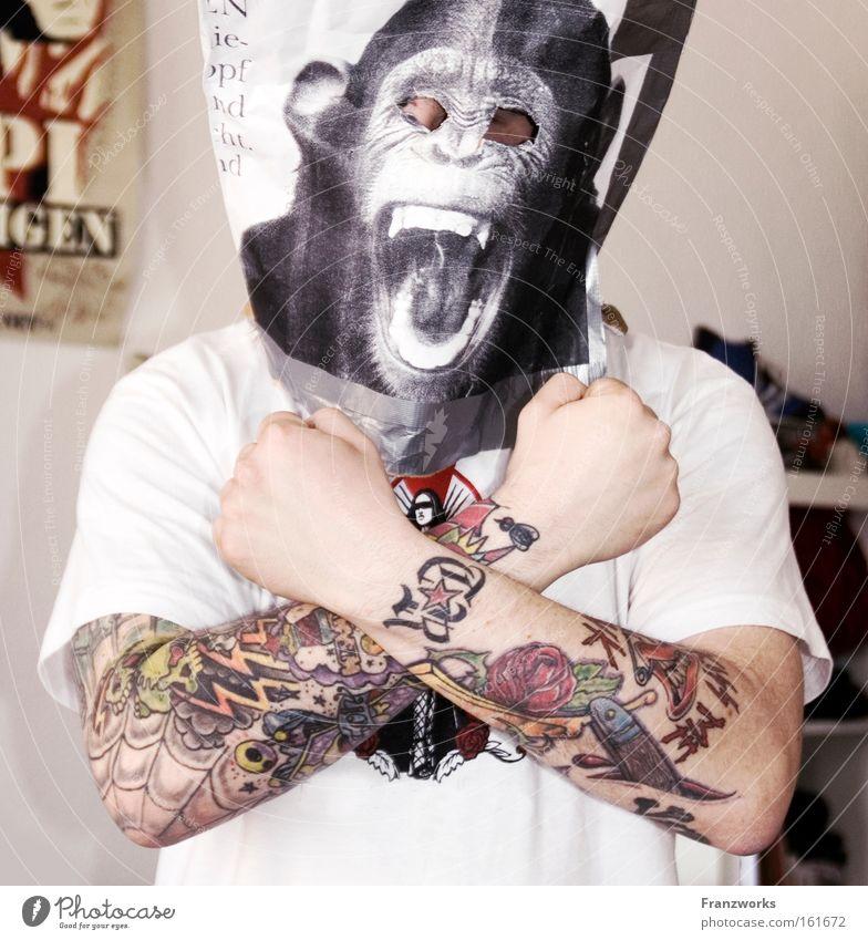 Man Joy Power Funny Adults Music Mask Carnival Anger Tattoo Monkeys Generation Carnival costume Joke Costume Punk rock
