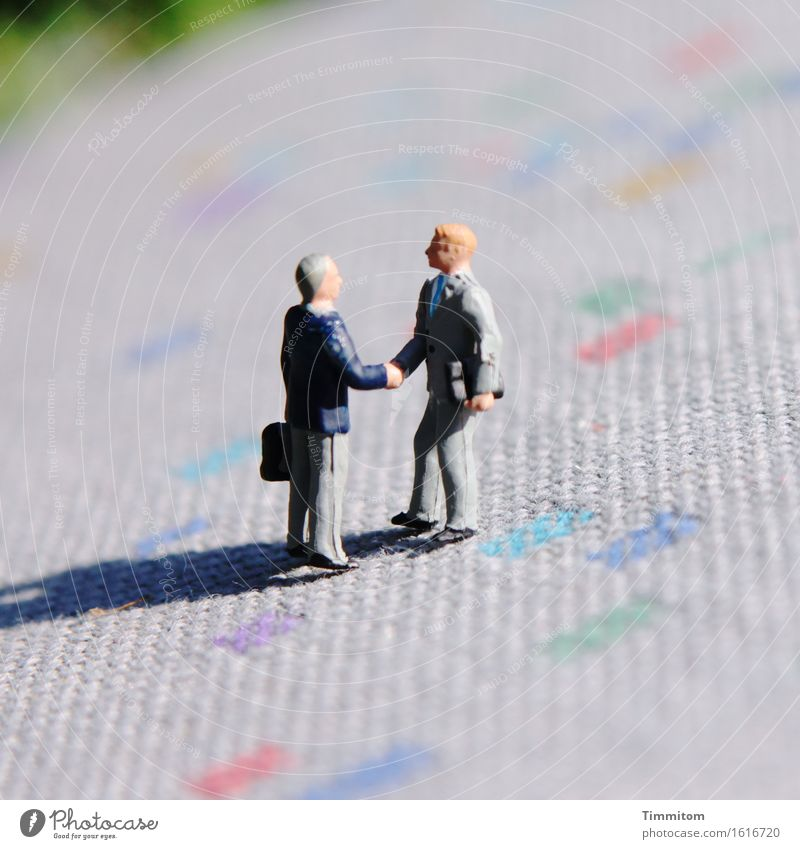 You are? Work and employment To talk Communicate Meeting Welcome Carpet Shadow Handshake mini worlds Colour photo Exterior shot Deserted Day
