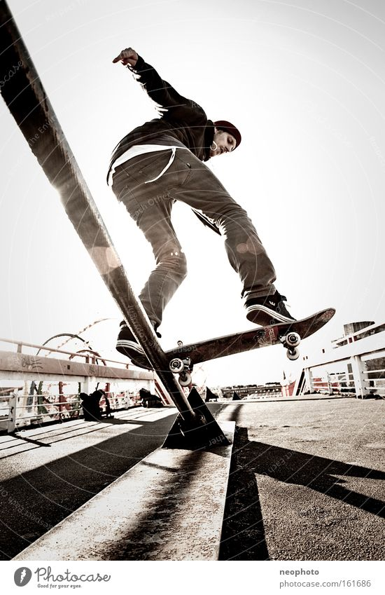 Joy Sports Playing Dangerous Bridge Skateboarding Wooden board Dome Roll Coil Closing time Recklessness Wire cable