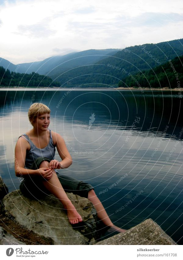 Woman Nature Summer Calm Adults Freedom Mountain Think Lake Blonde Break Peace Light heartedness Renewable Alsace