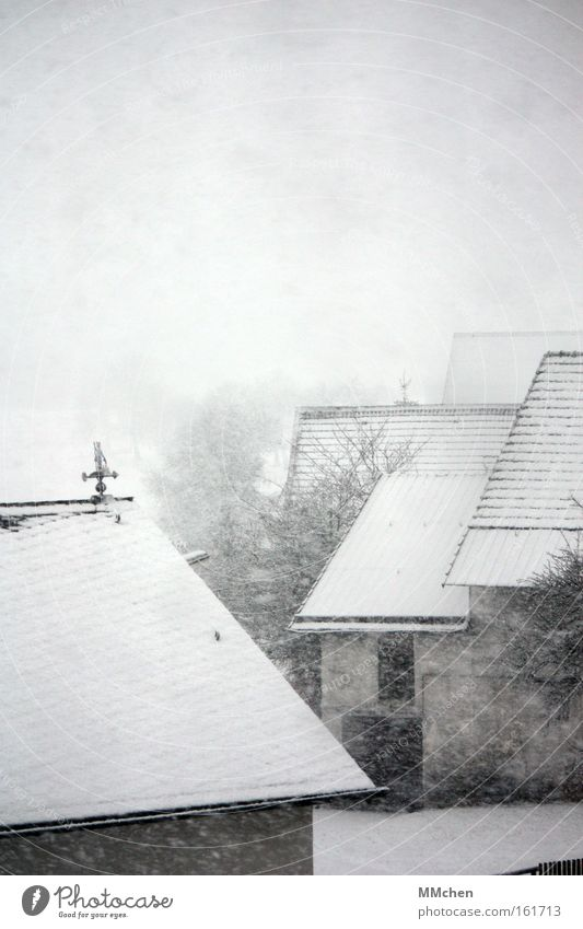 ByeBye Wintertime Snow Snowfall White Cold Frost Farm Eifel Barn Courtyard Roof Fog Snowflake Traffic infrastructure Sadness